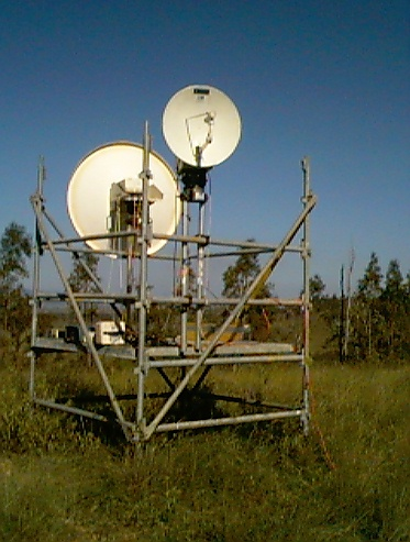 This is a Harris Microwave link setup, with a Nurad (smaller dish) & 4' system, it's running off a Honda Power Generator on hilltop near Esk Queensland Australia.